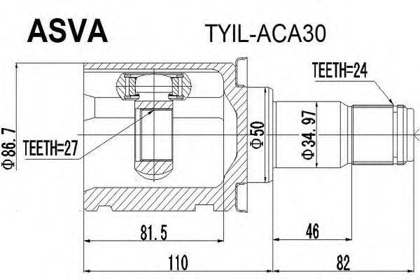 Шарнирный комплект, приводной вал ASVA TYILACA30