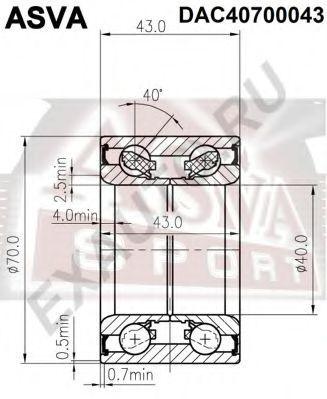Подшипник ступицы колеса ASVA DAC40700043