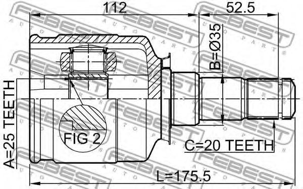Изображение ШРУС внутренний FEBEST 0111ST215LH: описание