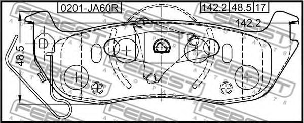 Колодки тормозные FEBEST 0201JA60R