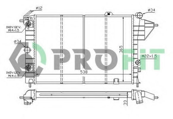Радиатор охлаждения PROFIT PR5076A4