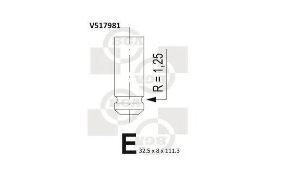 Клапан двигателя выпускной BGA V517981