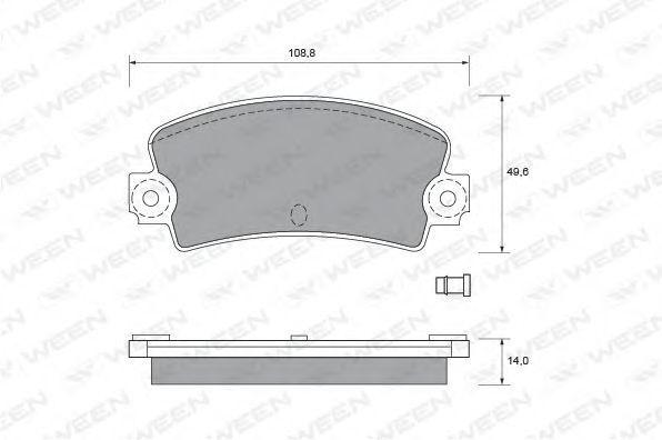 Комплект тормозных колодок, дисковый тормоз WEEN 1511893