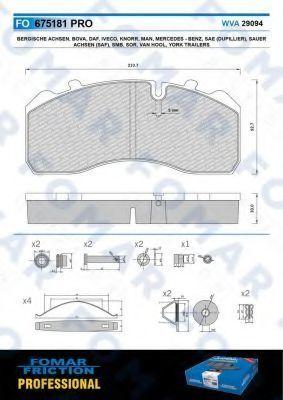 Колодки тормозные FOMAR FRICTION FO675181