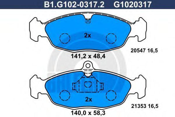 Комплект тормозных колодок, дисковый тормоз GALFER B1G10203172