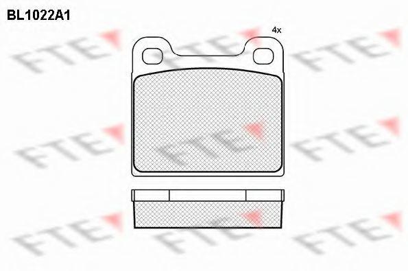 Комплект тормозных колодок, дисковый тормоз FTE BL1022A1