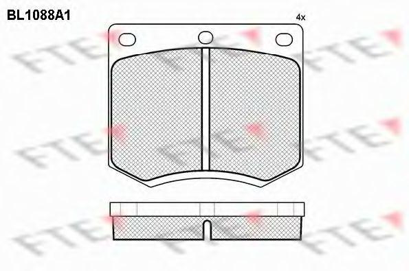 Комплект тормозных колодок, дисковый тормоз FTE BL1088A1