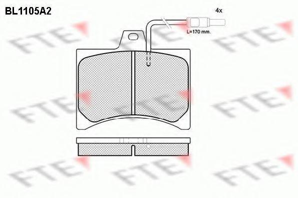 Комплект тормозных колодок, дисковый тормоз FTE BL1105A2