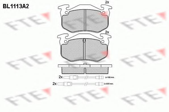 Комплект тормозных колодок, дисковый тормоз FTE BL1113A2