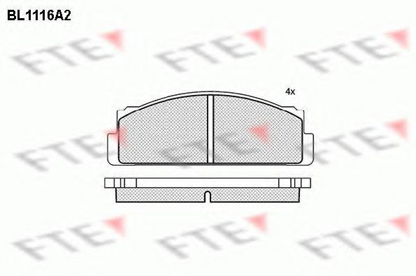 Комплект тормозных колодок, дисковый тормоз FTE BL1116A2