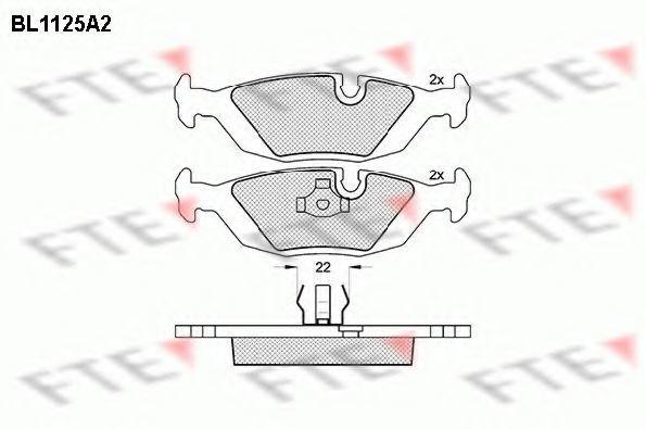 Комплект тормозных колодок, дисковый тормоз FTE BL1125A2