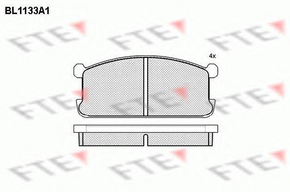 Комплект тормозных колодок, дисковый тормоз FTE BL1133A1