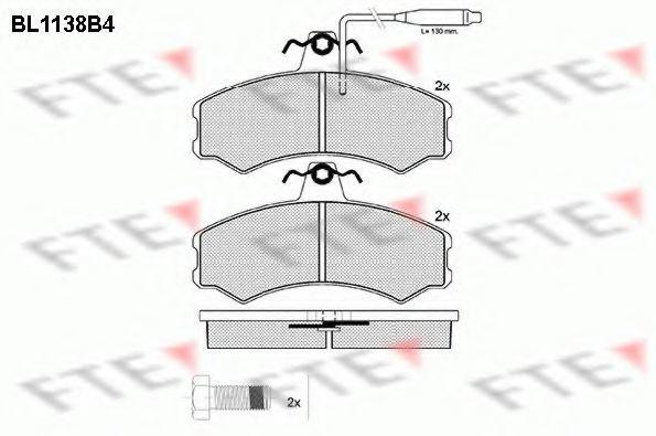 Комплект тормозных колодок, дисковый тормоз FTE BL1138B4