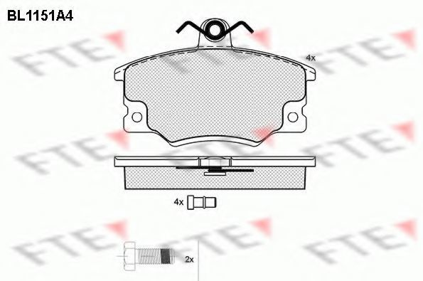 Комплект тормозных колодок, дисковый тормоз FTE BL1151A4