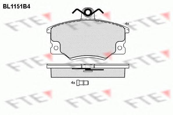 Комплект тормозных колодок, дисковый тормоз FTE BL1151B4