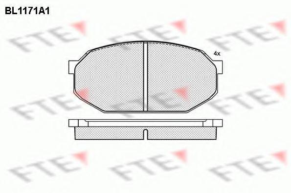 Комплект тормозных колодок, дисковый тормоз FTE BL1171A1