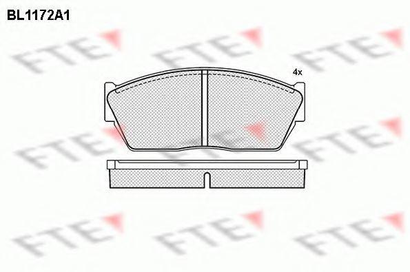 Комплект тормозных колодок, дисковый тормоз FTE BL1172A1