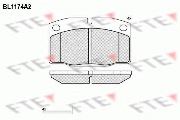 Комплект тормозных колодок, дисковый тормоз FTE BL1174A2