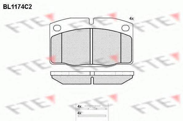 Комплект тормозных колодок, дисковый тормоз FTE BL1174C2