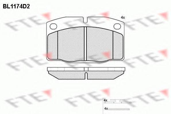 Комплект тормозных колодок, дисковый тормоз FTE BL1174D2