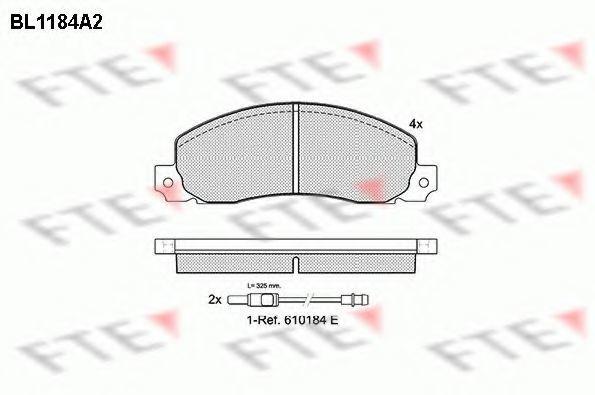 Комплект тормозных колодок, дисковый тормоз FTE BL1184A2