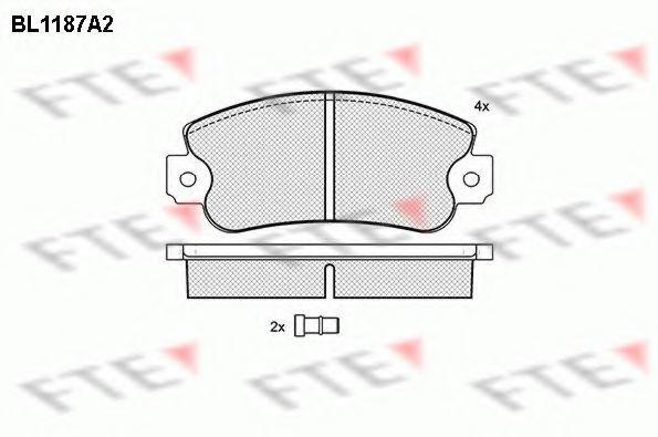 Комплект тормозных колодок, дисковый тормоз FTE BL1187A2