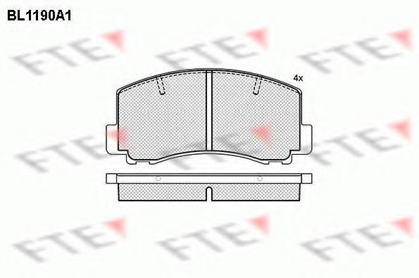 Комплект тормозных колодок, дисковый тормоз FTE BL1190A1