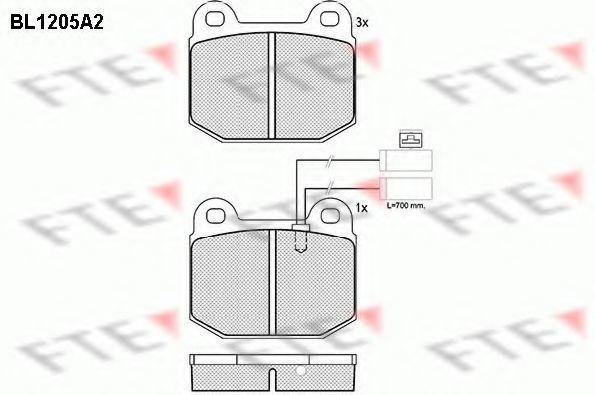 Комплект тормозных колодок, дисковый тормоз FTE BL1205A2