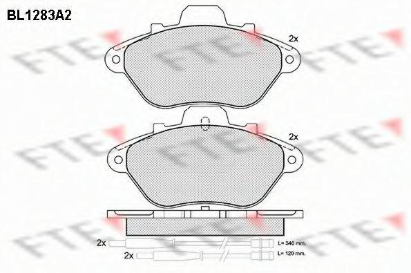 Комплект тормозных колодок, дисковый тормоз FTE BL1283A2