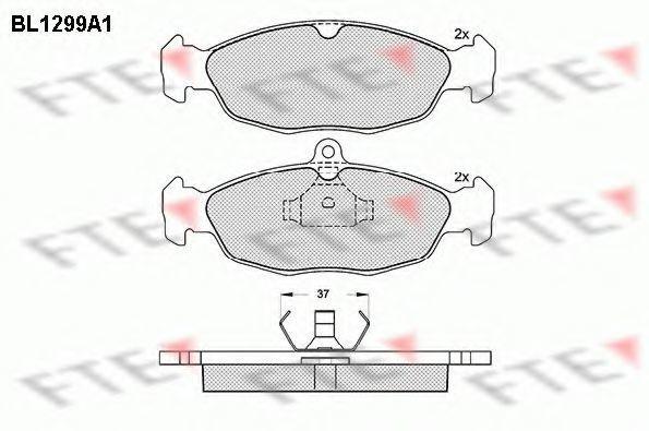Комплект тормозных колодок, дисковый тормоз FTE BL1299A1