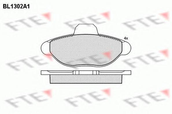 Комплект тормозных колодок, дисковый тормоз FTE BL1302A1