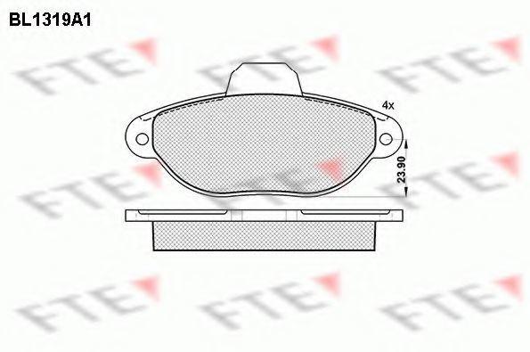 Комплект тормозных колодок, дисковый тормоз FTE BL1319A1