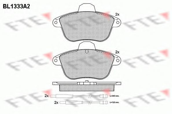 Комплект тормозных колодок, дисковый тормоз FTE BL1333A2
