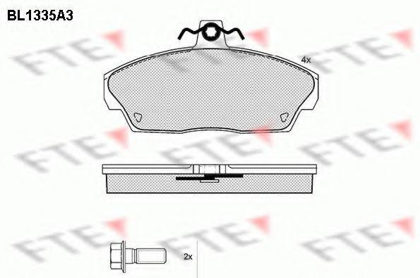 Комплект тормозных колодок, дисковый тормоз FTE BL1335A3