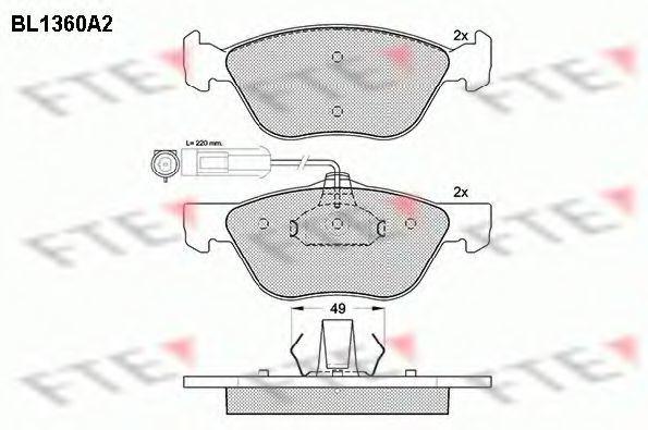 Комплект тормозных колодок, дисковый тормоз FTE BL1360A2