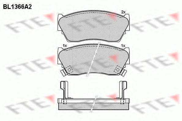 Комплект тормозных колодок, дисковый тормоз FTE BL1366A2