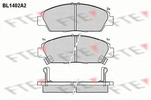Комплект тормозных колодок, дисковый тормоз FTE BL1402A2