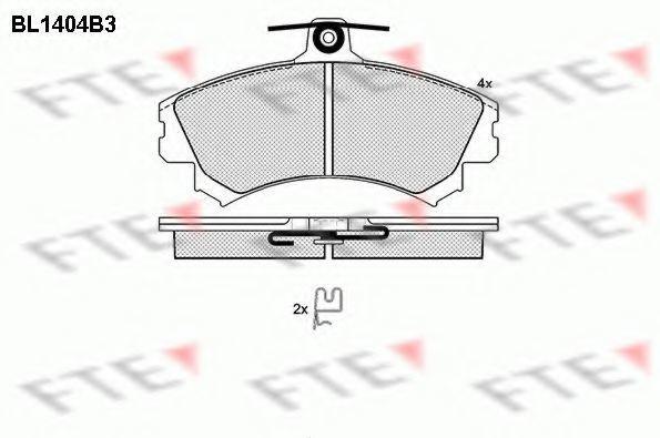 Комплект тормозных колодок, дисковый тормоз FTE BL1404B3