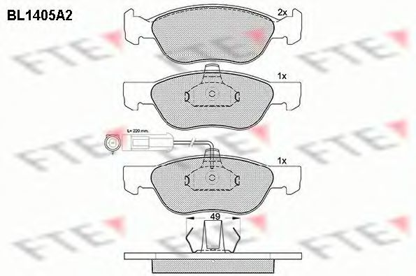 Комплект тормозных колодок, дисковый тормоз FTE BL1405A2