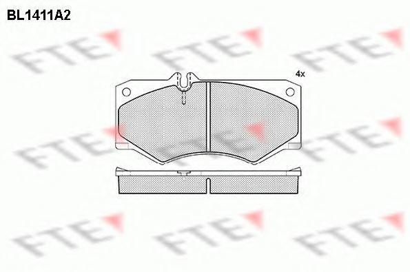 Комплект тормозных колодок, дисковый тормоз FTE BL1411A2