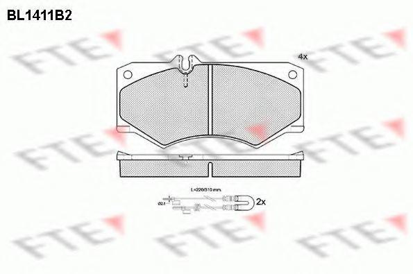Комплект тормозных колодок, дисковый тормоз FTE BL1411B2