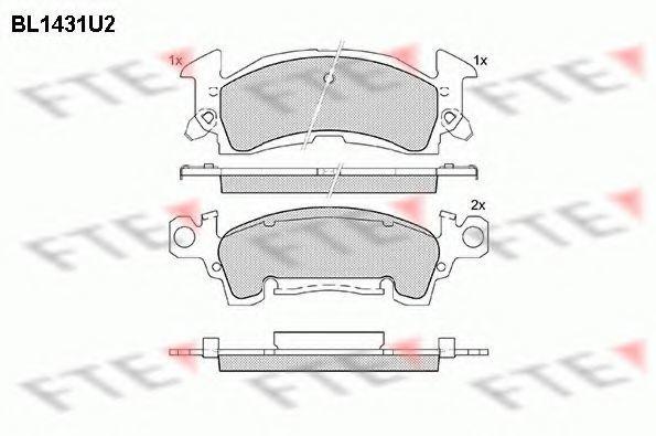 Комплект тормозных колодок, дисковый тормоз FTE BL1431U2