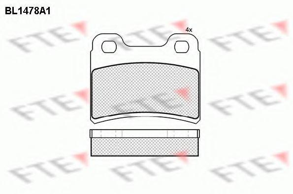 Комплект тормозных колодок, дисковый тормоз FTE BL1478A1