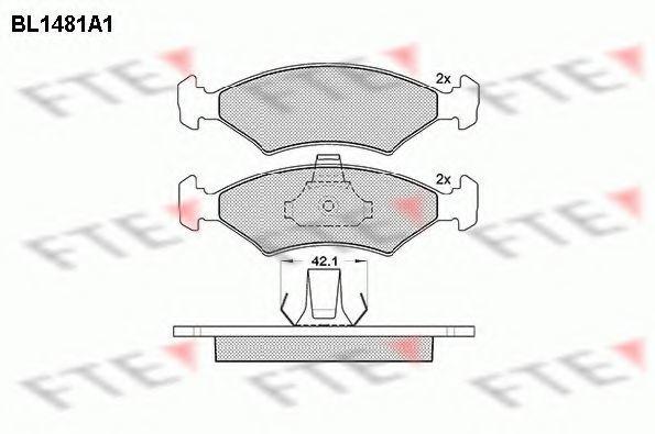 Комплект тормозных колодок, дисковый тормоз FTE BL1481A1