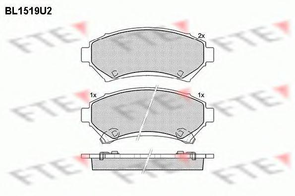 Комплект тормозных колодок, дисковый тормоз FTE BL1519U2