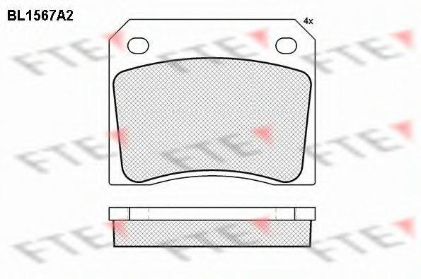 Комплект тормозных колодок, дисковый тормоз FTE BL1567A2