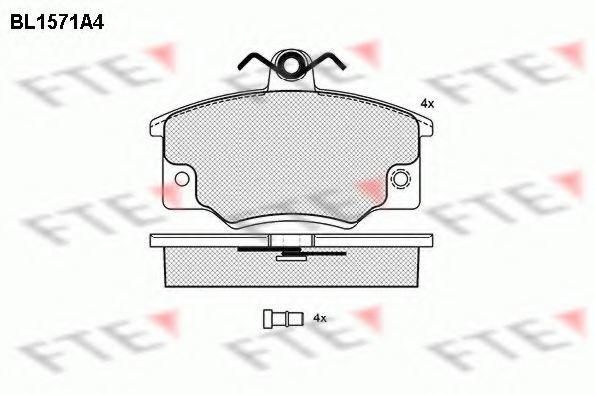 Комплект тормозных колодок, дисковый тормоз FTE BL1571A4