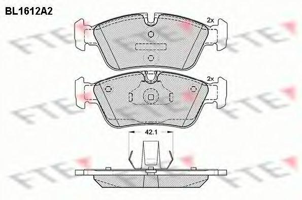 Комплект тормозных колодок, дисковый тормоз FTE BL1612A2