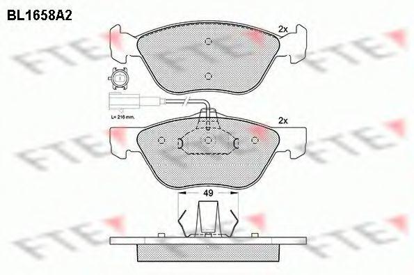 Комплект тормозных колодок, дисковый тормоз FTE BL1658A2