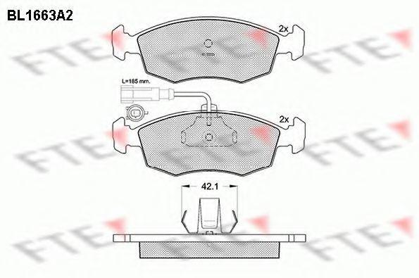 Комплект тормозных колодок, дисковый тормоз FTE BL1663A2